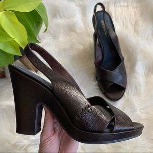 Aerosoles Brown Leather Demi Finalist Slingbacks